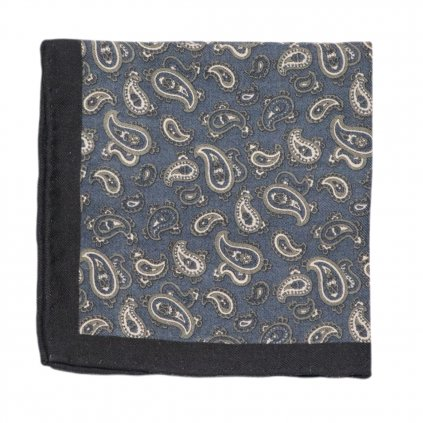 Šedivomodrý vlněný kapesníček s paisley