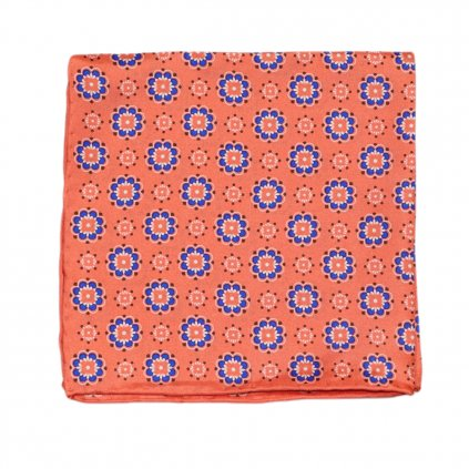 Lososový hedvábný kapesníček s květy
