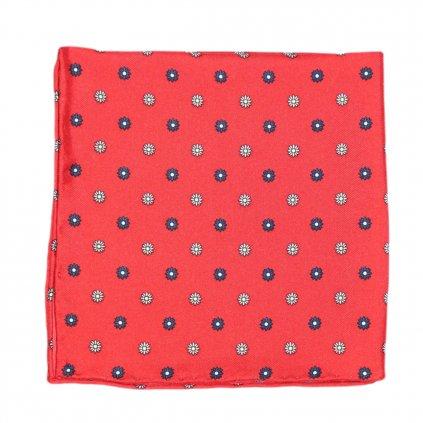 Červený hedvábný kapesníček s květy