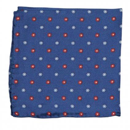 Modrý hedvábný kapesníček s květy