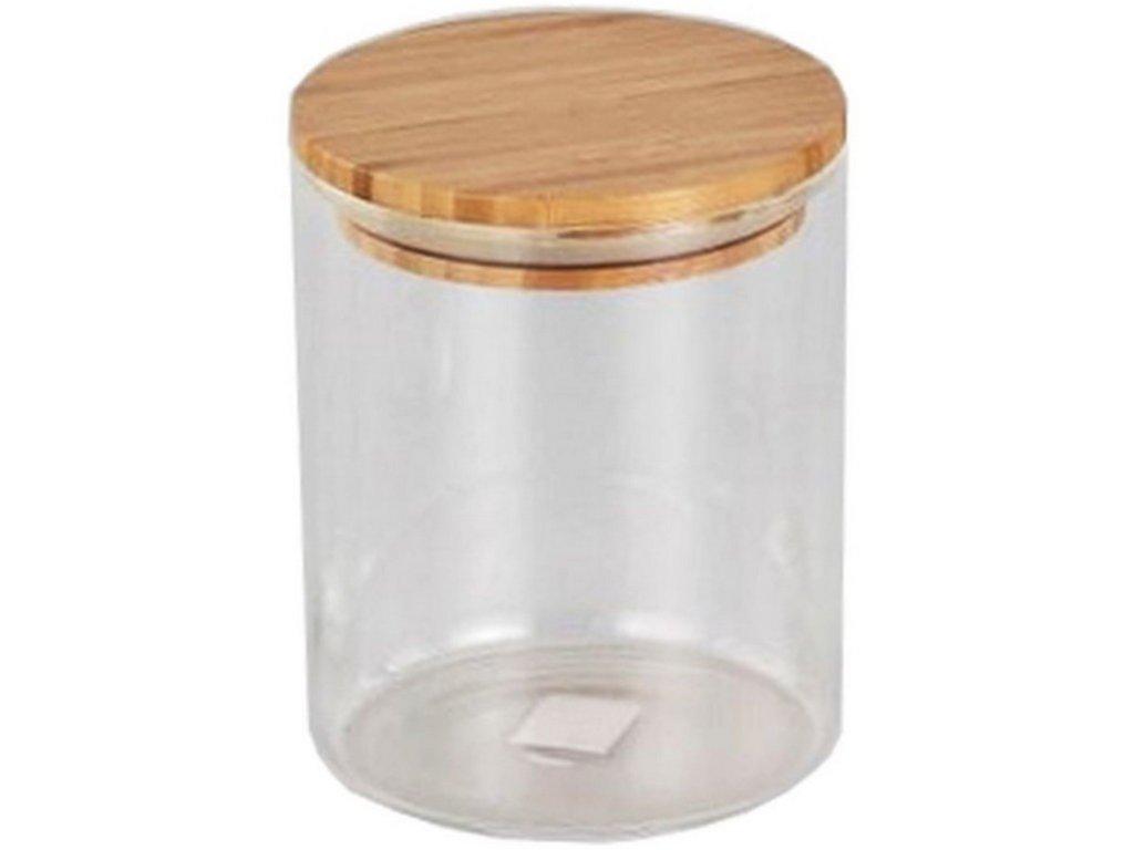 Dóza kul. 0,65l sklo+bambus víčko