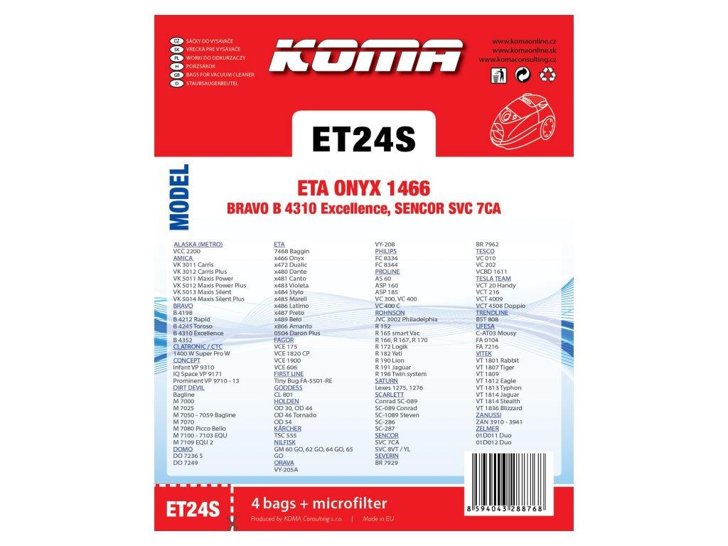 KOMA PET ET24S · KOMA PET ET24S · Koma ET24S - Sáčky do vysavače ETA Onyx  1466 textilní bb8f805a8f1