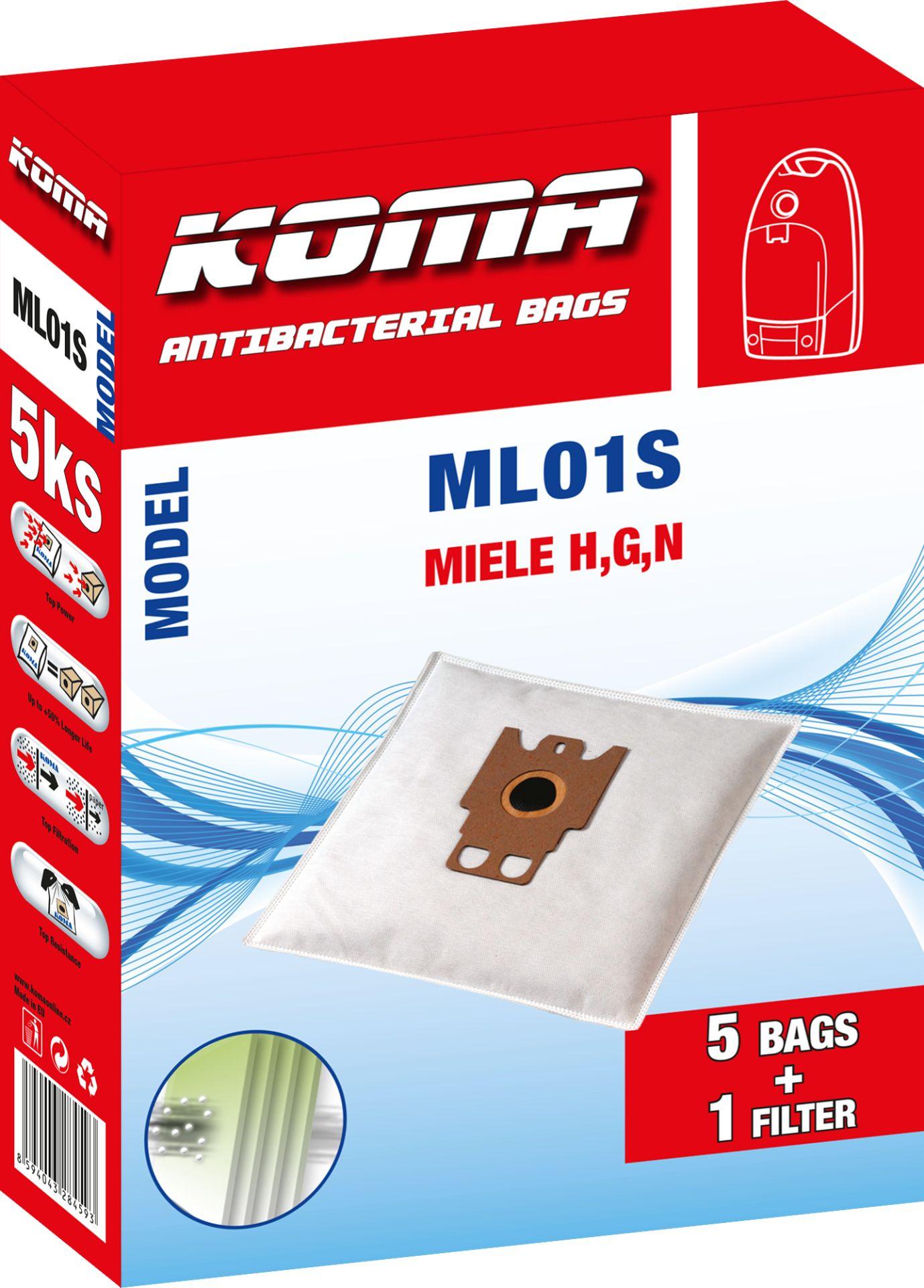 KOMA sáčky MIELE H,G,N textilní 5 ks + 1 mikrofiltr