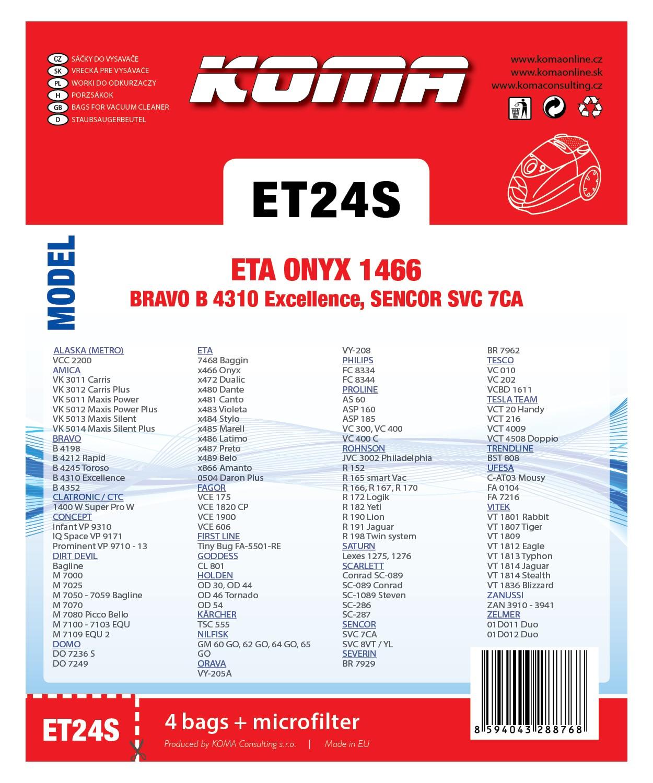 KOMA sáčky do vysavače ETA Onyx 1466 textilní, 4ks