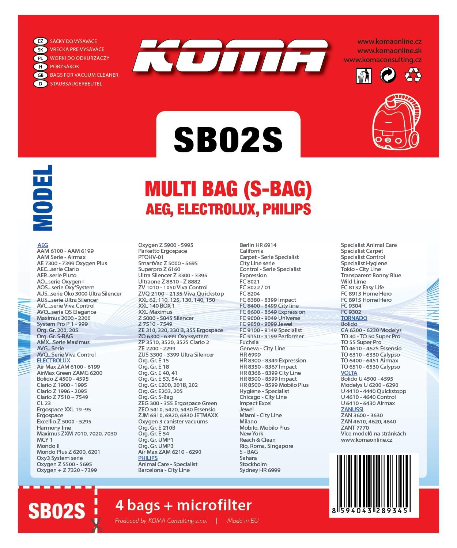 Koma SB02S - Sáčky do vysavače Electrolux Multi Bag textilní - kompatibilní se sáčky typu S-b