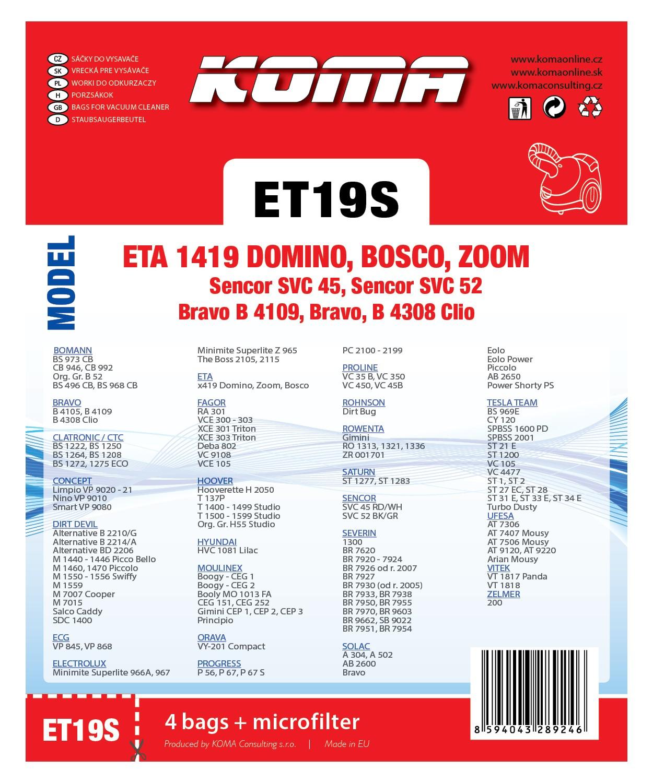 Koma ET19S - Sáčky do vysavače ETA Domino 1419 textilní, 4ks