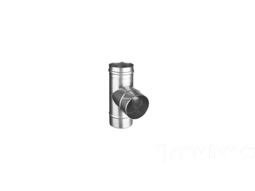 T-kus 87° nerez s odkapničkou redukovaný 0,6-120/115 mm
