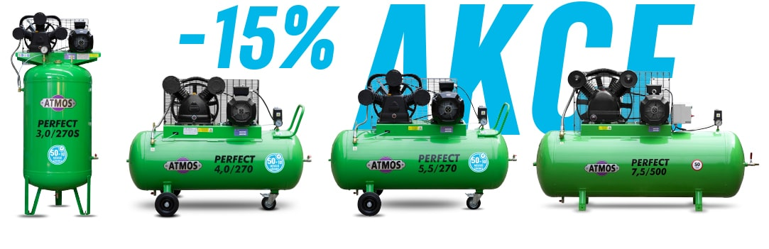 -15%AKCE na pístové kompresory ATMOS Perfect