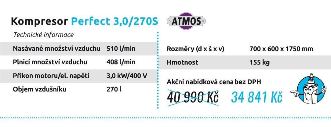 Kompresor Perfect 3,0/270S Technické informace Nasávané množství vzduchu 510 l/min Plnicí množství vzduchu 408 l/min Příkon motoru/el. napětí 3,0 kW/400 V Objem vzdušníku 270 l Rozměry (d x š x v) 700 x 600 x 1750 mm Hmotnost 155 kg 40 990 Kč 34 841 Kč