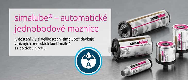 simalube® – automatické jednobodové maznice K dostání v 5-ti velikostech, simalube® dávkuje v různých periodách kontinuálně až po dobu 1 roku.