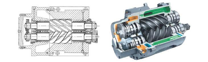 princip šroubového kompresoru