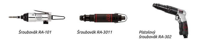 Šroubovák RA-101 Šroubovák RA-3011 Pistolový šroubovák RA-302