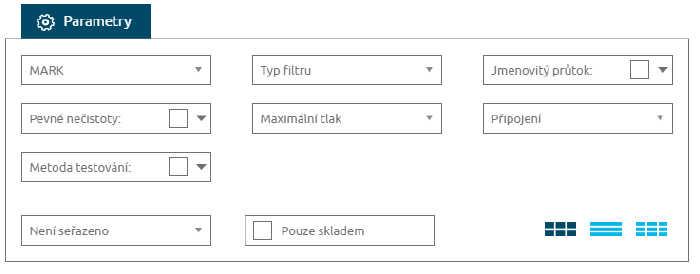 Typy filtrů značky MARK