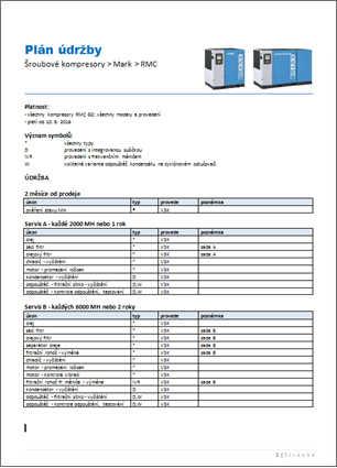 Plán údržby pístového kompresoru