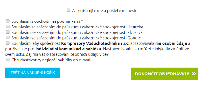 Zaregistrování do e-shopu