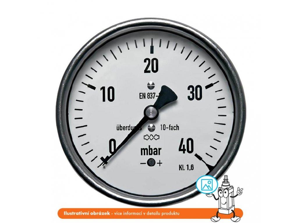 Manometr nízkotlaký zadní -100/0 mbar - 63 - 1/4