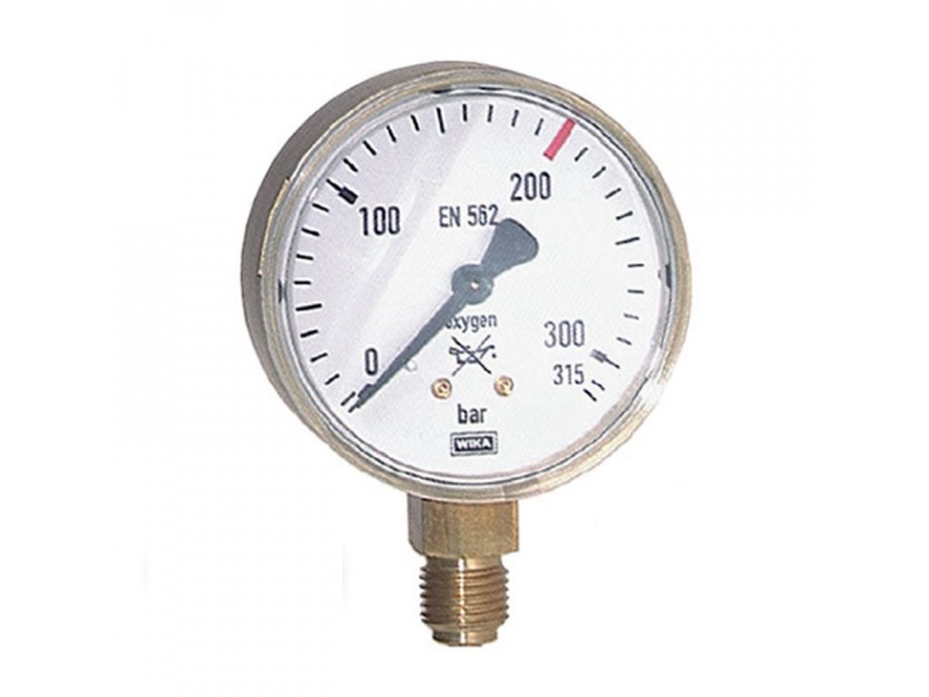 Manometr pro kyslík stranový 0/400 bar - 1/4 - 63