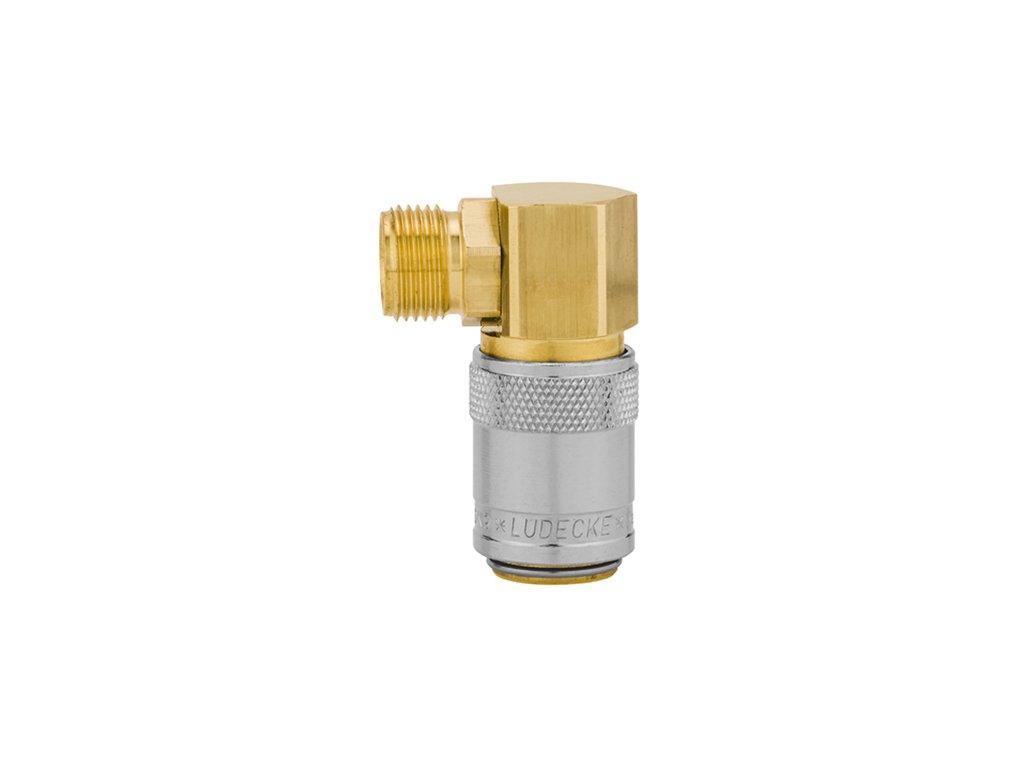 """Rychlospojka s 90° vnějším závitem G1/4"""" bez ventilu"""