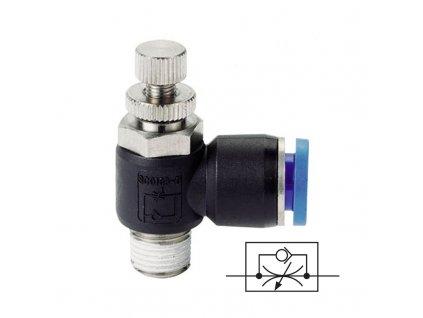 Úhlový škrtící ventil 6 - M5