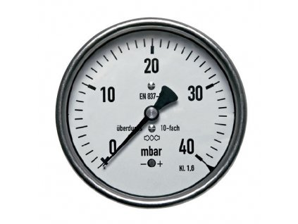 Manometr nízkotlaký zadní 0/60 mbar - 63 - 1/4