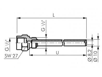 "Jímka TRCU - 1/2"" - 100 / 18 mm"