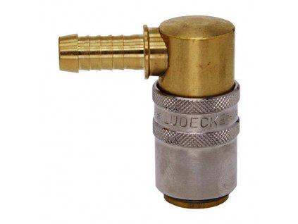 Rychlospojka s 90° trnem pro nástrčnou hadici 6mm s ventilem