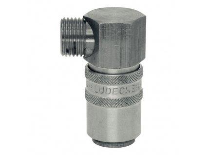 """Rychlospojka s 90° vnějším závitem G1/4"""" s ventilem"""