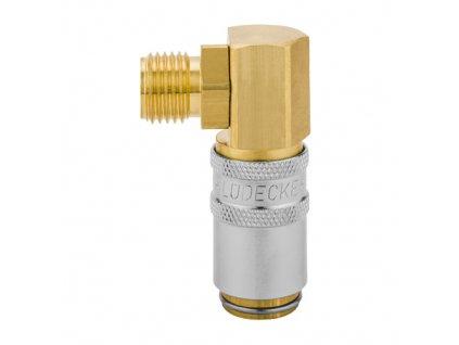 """Rychlospojka s 90° prodlouženým vnějším závitem G3/8"""" s ventilem"""