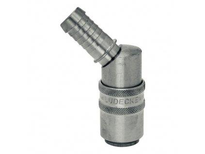 Rychlospojka s 45° trnem pro hadici 13mm s ventilem