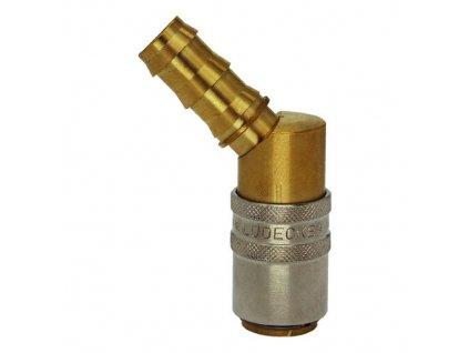 Rychlospojka s 45° trnem pro nástrčnou hadici 16mm s ventilem