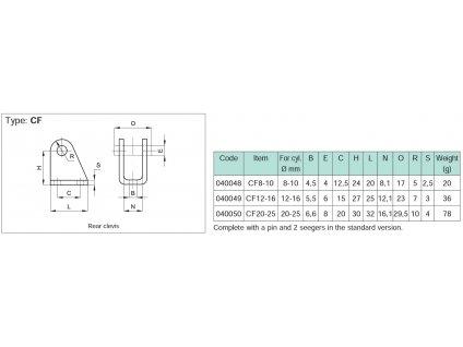 Zadní vidlice s čepem CF 20-25mm