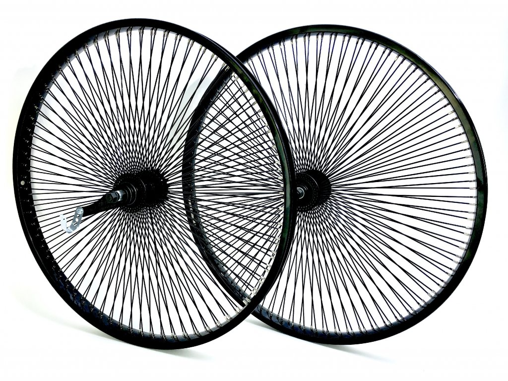 """140 drátů 26"""" Sada přední a zadní kolo, černé"""