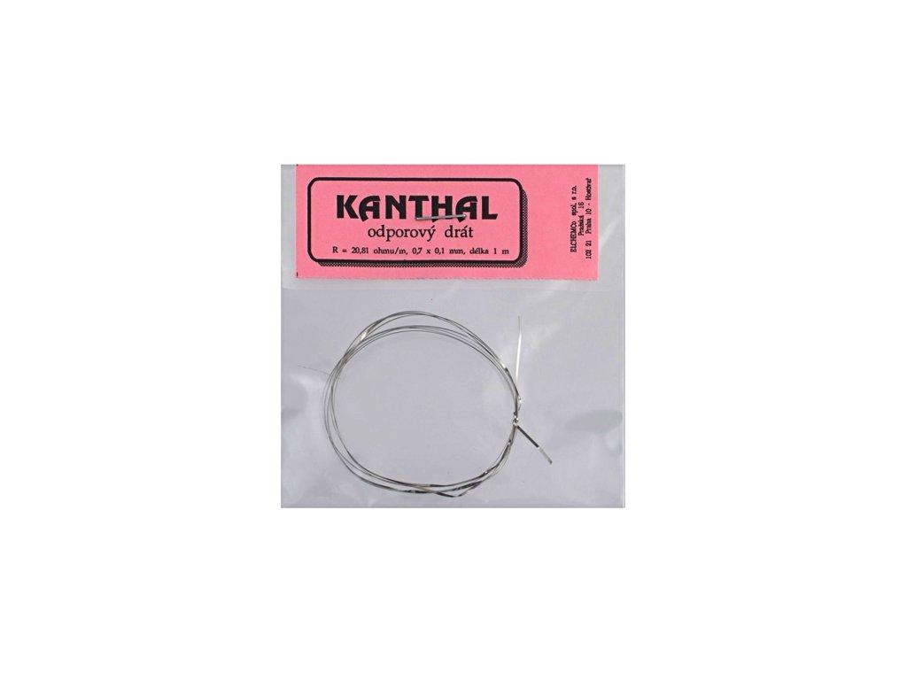 Odporový drát KANTHAL 20,81 Ohm/m 0,7x0,1mm (1m)