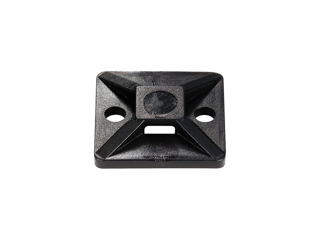 Držák stahovacího pásku 19mm černý (samolepící)