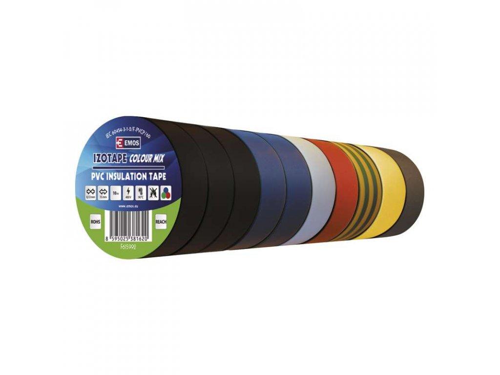 Izolační páska PVC 15mm/10m barevný mix 10ks
