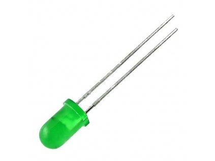 LED 5mm zelená 3,7mcd 50° difuzní