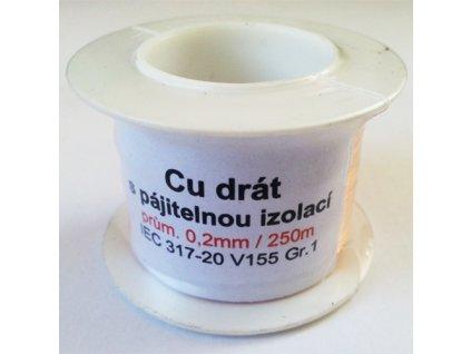 Drát Cu 0,2 s pájitelnou izolací (250m)