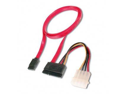 Datový kabel SATA 2.0 3GBs 0,5m rovný + napájení