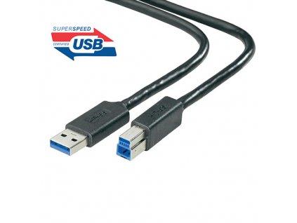 Kabel USB 3.0 - USB A-B 5Gbps 9pin 3m černá