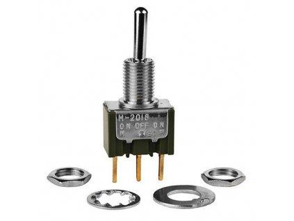 Přepínač páčkový M2018 (ON)-OFF-(ON)