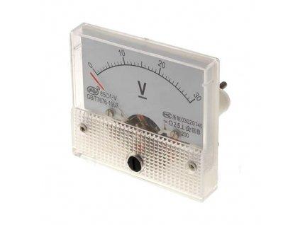 Měřicí přístroj analogový 0-30V na panel