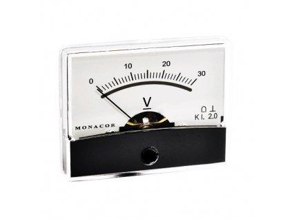 Měřicí přístroj analogový 0-30V na panel PM2