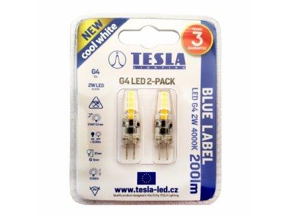 LED žárovka G4 12V 2W 200lm 4000K bílá denní (2 ks)