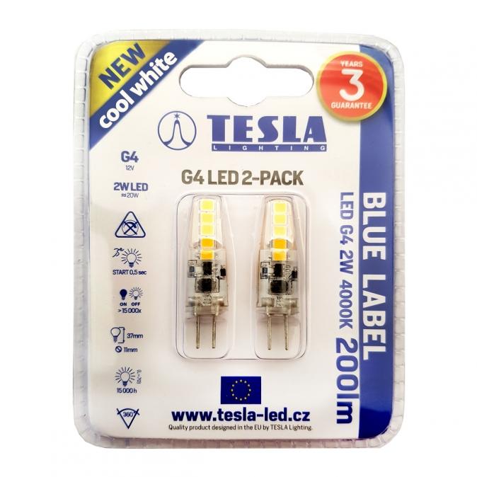 TESLA Lighting LED žárovka G4 12V 2W 200lm 4000K bílá denní (2 ks)
