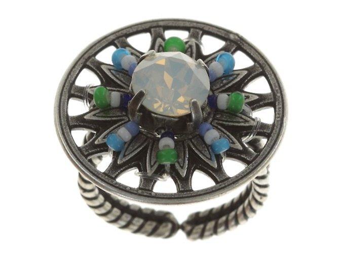 Dream Catcher - barva zelená/bílá/modrá - Prsteny - 5450543483566