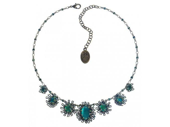 Chrysanthemum - modrá/zelená Náhrdelníky - 5450543078397