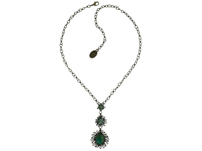Chrysanthemum - modrá/zelená Náhrdelníky - 5450543078472