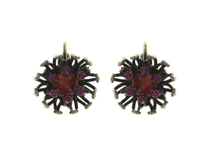 Chrysanthemum - růžová/červená Náušnice > Klasickézapínání - 5450543078687