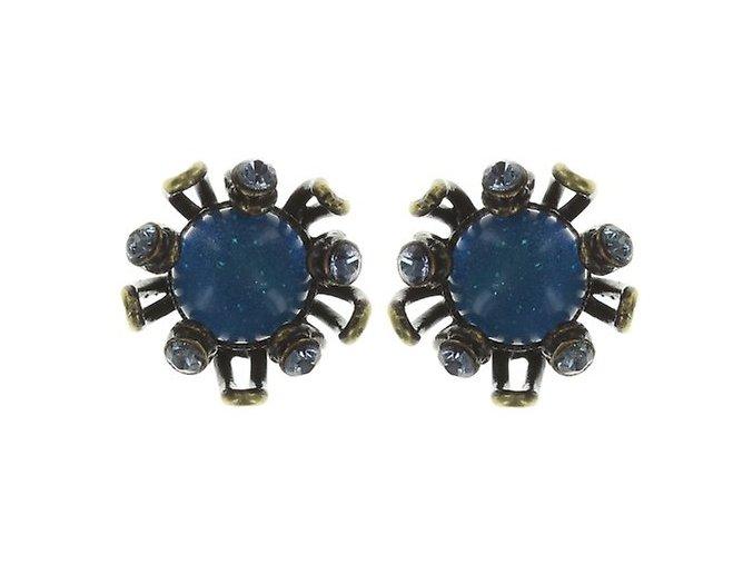 Chrysanthemum - modrá Náušnice > Puzety - 5450543078786