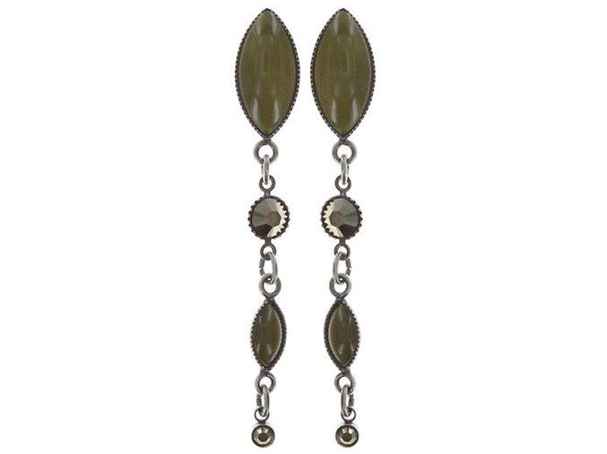Dangling Navette - zelená/šedivá Náušnice > Puzety - 5450543278919
